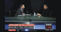 """Entrevista realizada por el periodista Gerardo Rozín, en el programa """"Esta noche"""", que se emite por el Canal C5N, sobre los sucesos en torno al derrumbe en Villa Urquiza"""